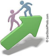 unire, persone, su, mano, porzione, freccia