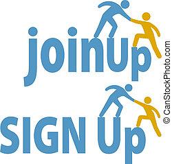 unire, persone, su, segno, membro, aiuta, gruppo, icona