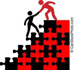 unire, trovare, persona, soluzione, aiuto