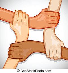 unità, mani