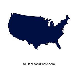 unito, america, stati, silhouette, mappa