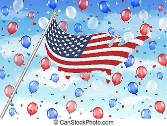 unito, balloon, cielo, bandierina condizione, america