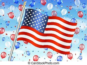 unito, balloon, cielo, stati, bandiera, america