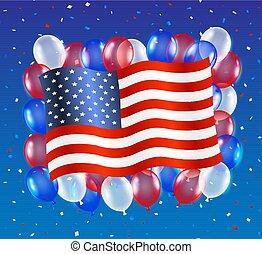 unito, balloon, stati, bandiera, fondo, america