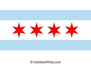 unito, chicago, bandiera, stati, illinois., vettore, america