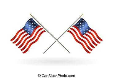unito, croce, stati, bandiera, fondo, bianco, america