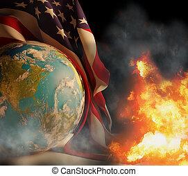 unito, fiamme, emergenza, globo fuoco, stato, stati, bandiera, fumo, mondo, america, 3d-illustration.