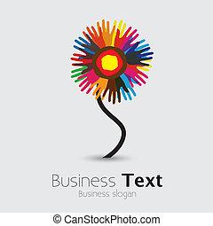 unito, flower-, persone, altro, graphic., comunità, palma, standing, &, fratellanza, universale, colorito, squadra, illustrazione, mano, porzione, rappresenta, sostegno, questo, ecc, vettore, ciascuno, impronte