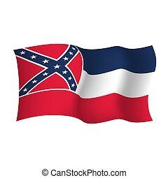 unito, illustration., flag., stati, vettore, america, mississipi