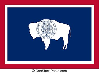 unito, illustration., flag., wyoming, stati, america., vettore