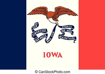 unito, iowa, illustration., flag., stati, america., vettore