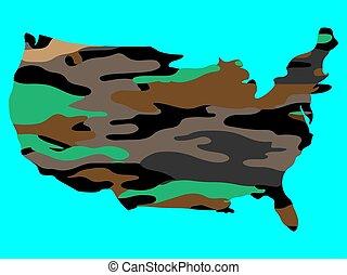 unito, mappa, illustrazione, camuffamento, america, stati, vettore