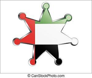 unito, nazionale, arabo, bandiera, emirati, medaglia