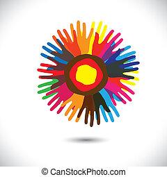 unito, persone, universale, comunità, flower:, standing, icone, concept., fratellanza, felice, colorito, rappresenta, illustrazione, mano, petali, unità, porzione, grafico, questo, ecc, vettore, squadra