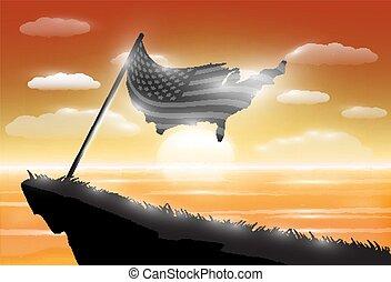 unito, silhouette, mare, stati, bandiera, tramonto, fondo, america, scogliera