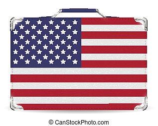 unito, viaggiare, stato, borsa, bandiera, valigia, america