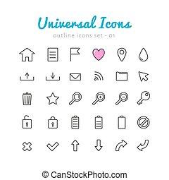 univerasal, web, set, icone