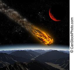 universe., astratto, illustrazione, pianeta, attacco, asteroide, meteora, impact.