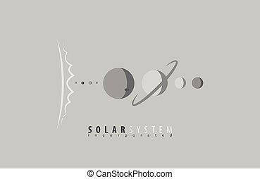 universe., system., scienza, space., sun., planets., solare, sole, logotipo, logo.