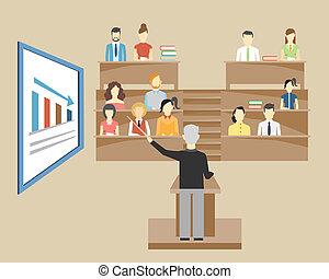 università, studenti, professore, tenere conferenza