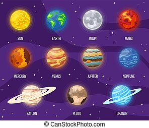 universo, pianeti, sistema, luna, space., vettore, design., qualsiasi, colorito, illustrazione, set, planets., sole, cartone animato, terra, solare, stelle