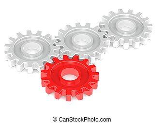 uno, giramento, ingranaggi, rosso, insieme
