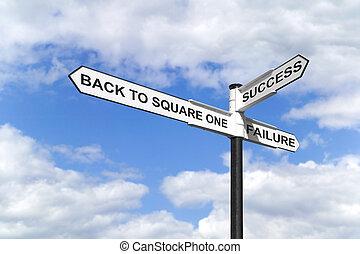uno, indietro, signpost, quadrato