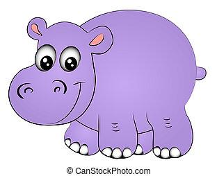 uno, ippopotamo, rinoceronte, isolato