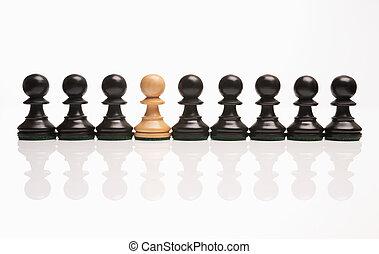 uno, scacchi, dispari, fuori