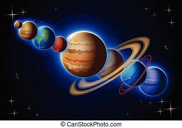 uno, solare, linea, sistema