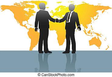 uomini, affari, stretta di mano, mappa mondo