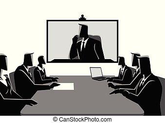uomini affari, teleconference, riunione, detenere, donne