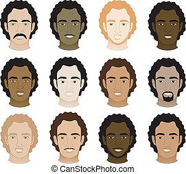 uomini, afro, riccio, facce