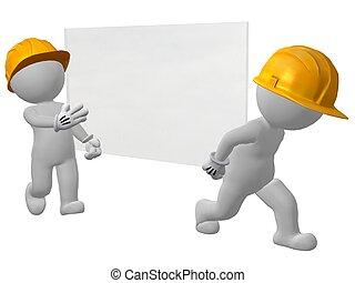 uomini, lavoro, due, vetro, portante, vetro