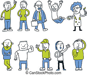 uomini, set, cartone animato