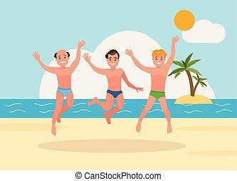 uomini, tre, giovane, fondo., saltare, spiaggia