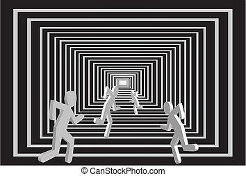 uomini, tunnel., persone, competition.