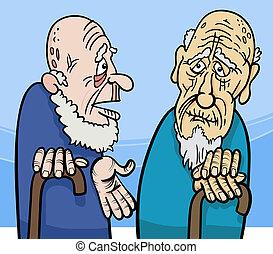 uomini, vecchio, cartone animato, illustrazione