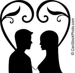 uomini, vettore, silhouette, donna, amore