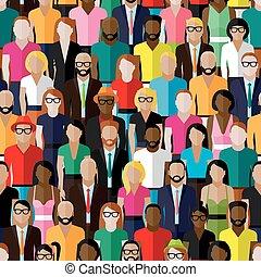 uomini, women., vettore, modello, gruppo, fla, seamless, grande