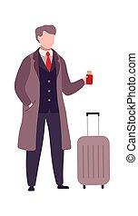 uomo, aeroporto, andare, terminal., plane., passare, buisnessman, valigia, tickets., passeggero, isolato, imbarco, illustrazione, vettore, bianco, appartamento, passaporto, fondo