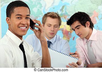 uomo affari, addestramento, giovane, educativo