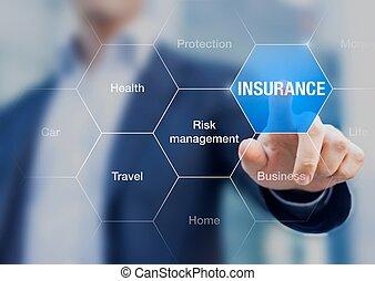 uomo affari, assicurazione, concetto, presentare