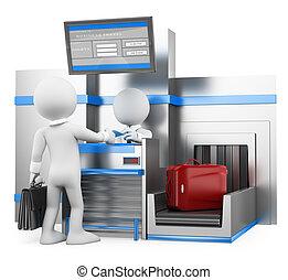 uomo affari, bagaglio, persone., controllo, aeroporto, 3d, bianco