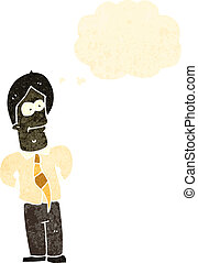 uomo affari, cartone animato, amichevole, retro
