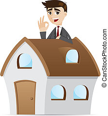 uomo affari, cartone animato, casa