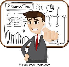 uomo affari, cartone animato, pianificazione aziendali