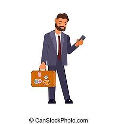 uomo affari, caucasico, valigia
