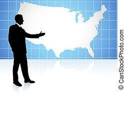 uomo affari, ci, fondo, mappa