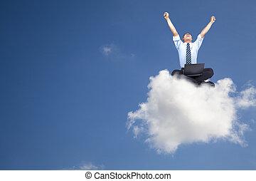 uomo affari, computer, giovane, nuvola, seduta